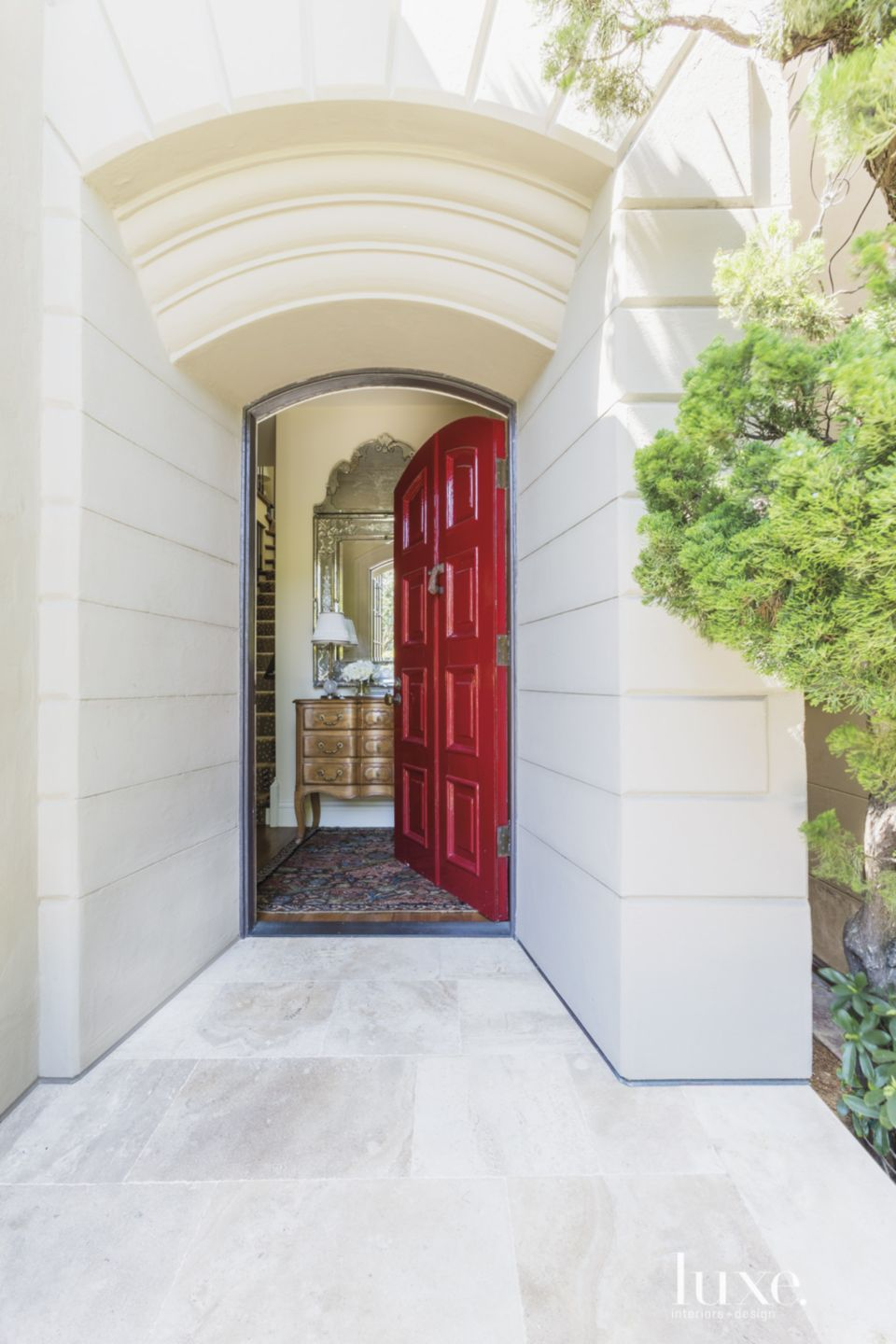 Traditional Neutral Entry with Red Door