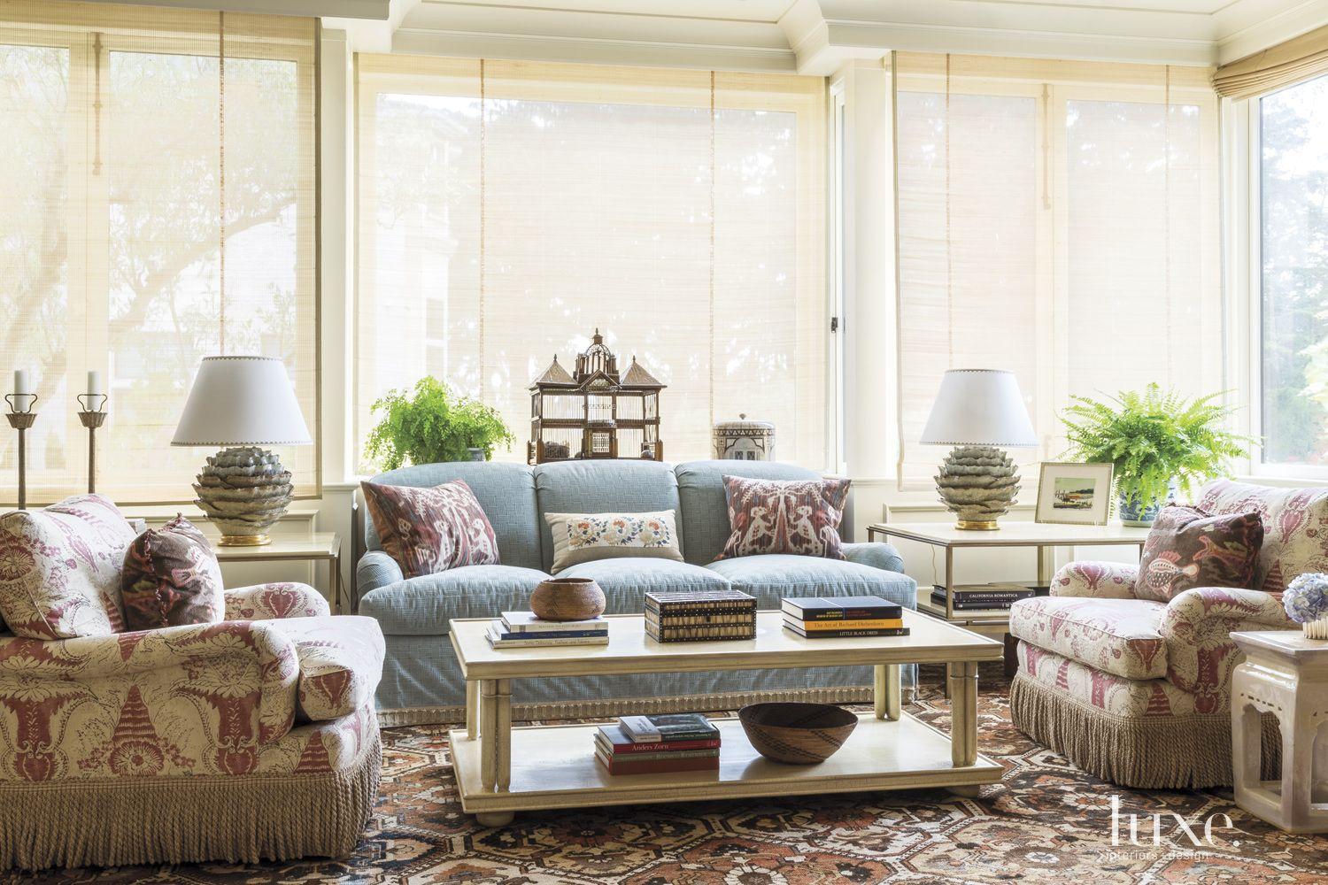 Traditional Neutral Sitting Area with Numerous Prints