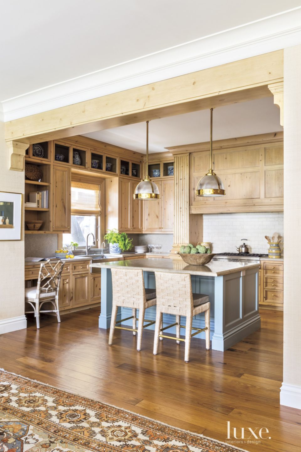 Traditional Neutral Kitchen with Antique English-Pine Columns