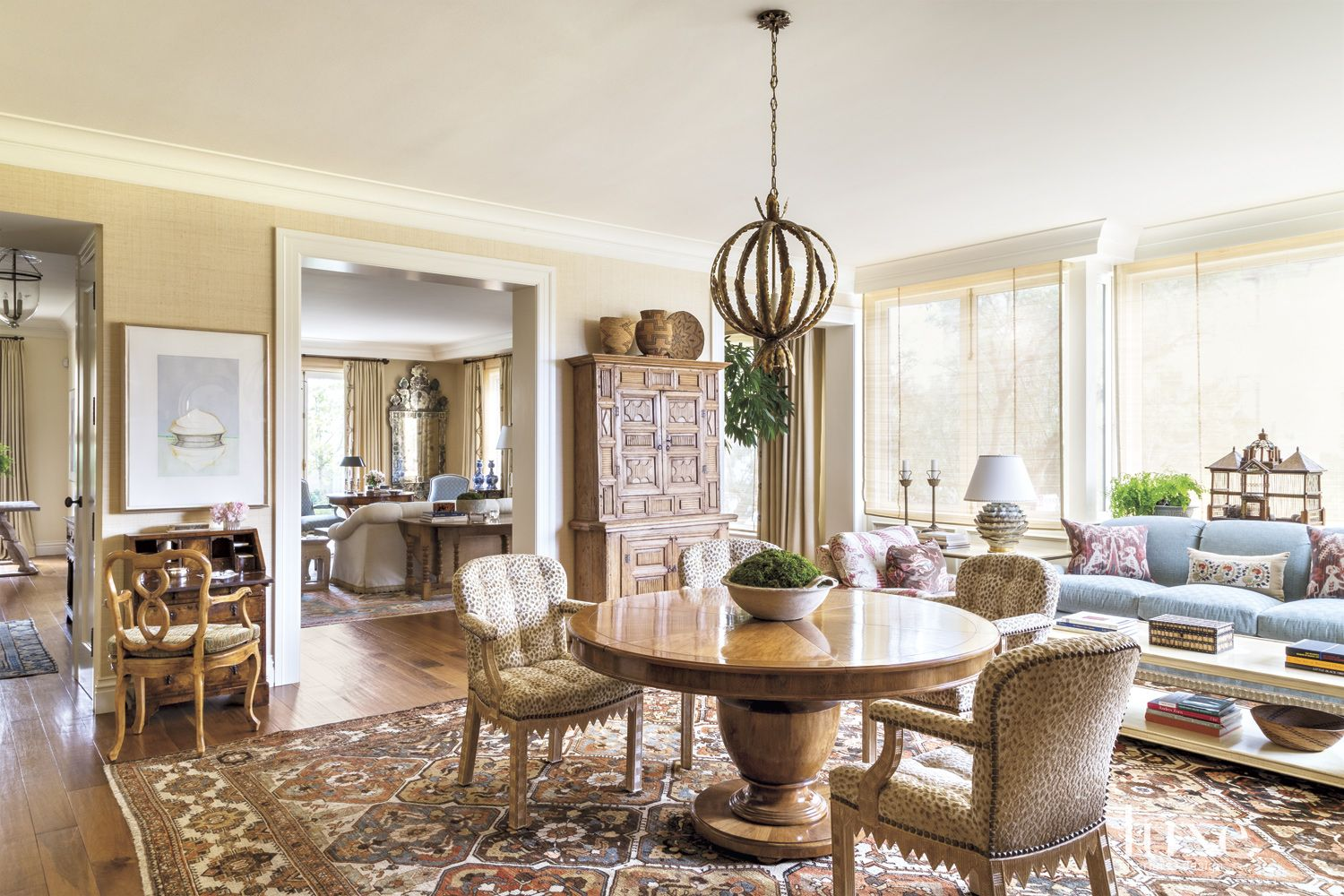 Traditional Neutral Dining Room With Leopard Print Chairs Luxe Interiors Design