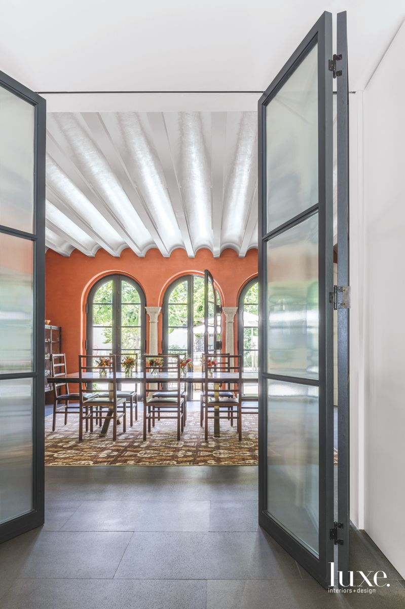 Burnt Orange Dining Room with Scalloped Ceiling