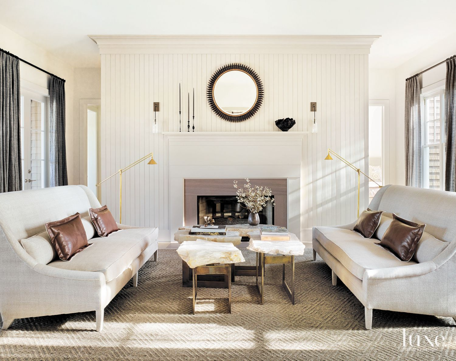 Contemporary Cream Living Room with Beadboard Accent Wall