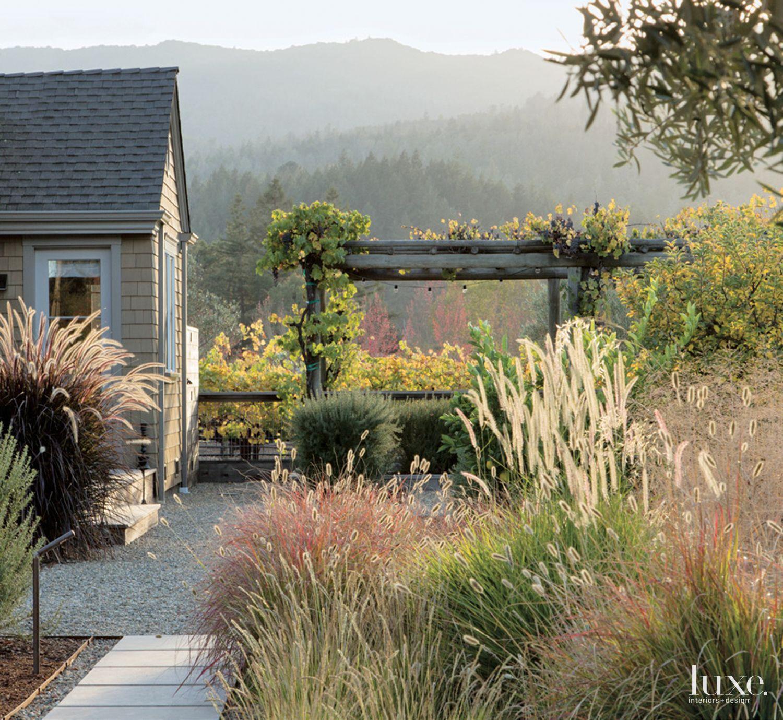 Contemporary Backyard Landscape Trellis