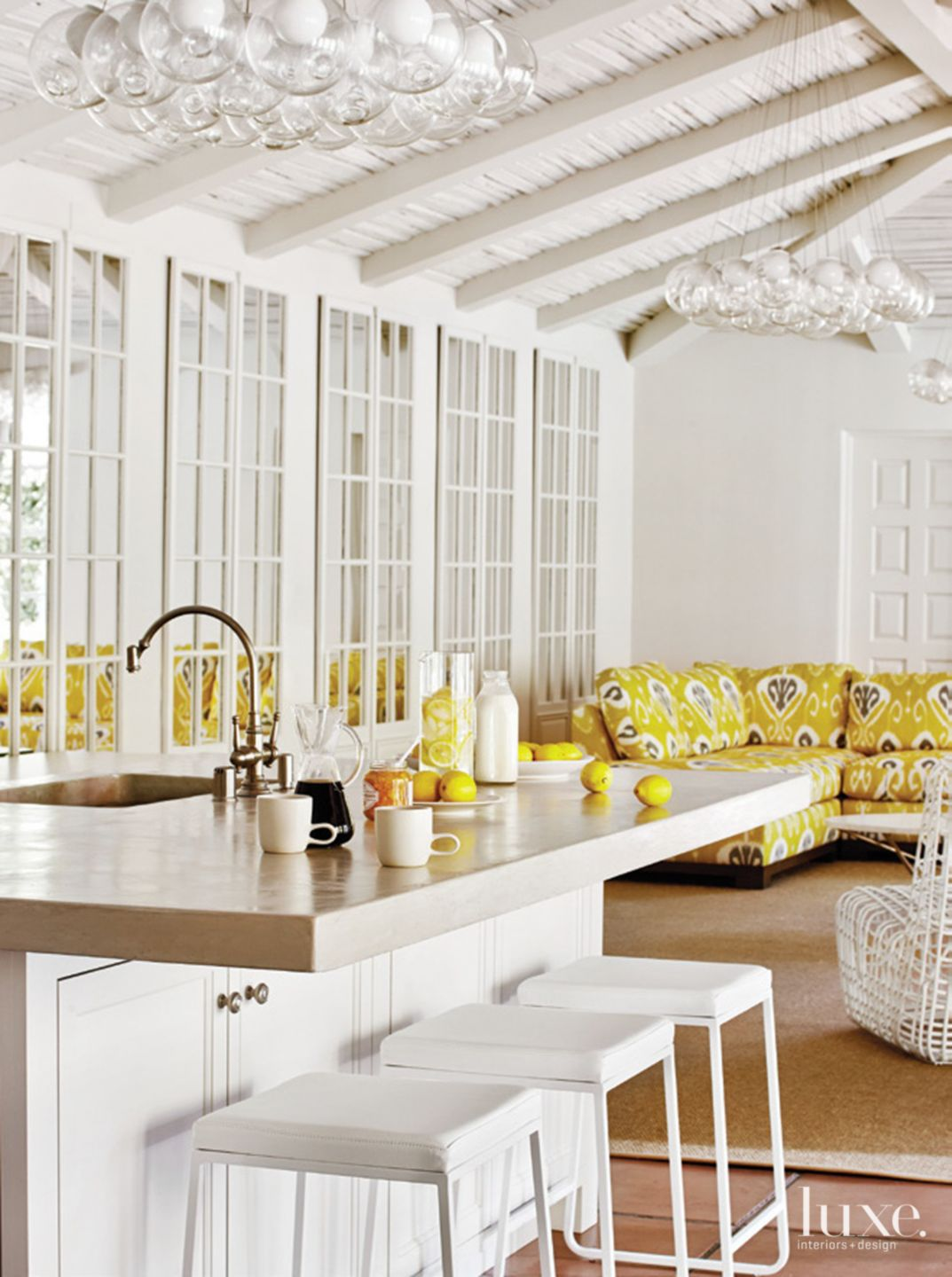 Contemporary White Poolhouse Kitchen