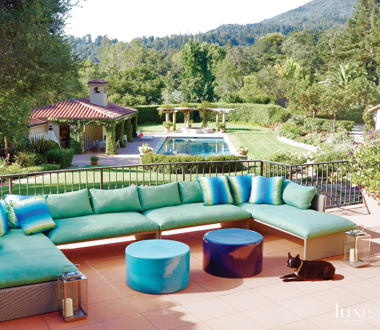 Mediterranean Terrace With Green Sofa