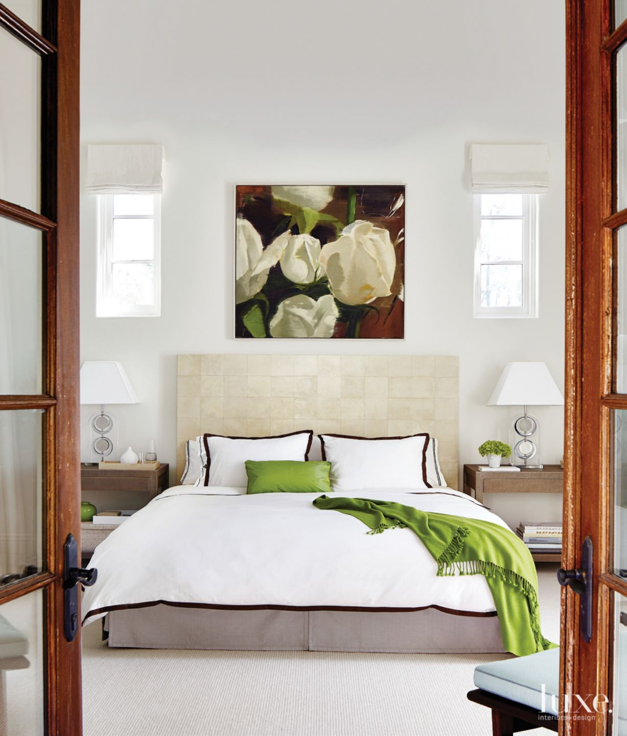 White Contemporary Master Bedroom with Green Accents