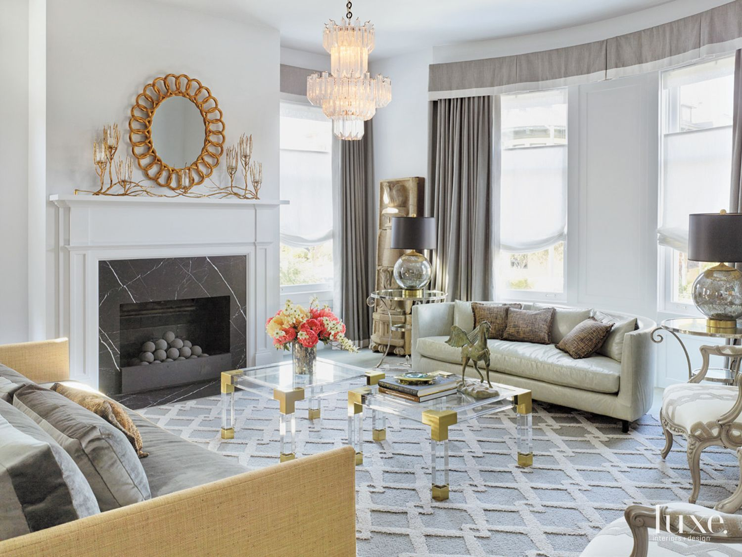 Eclectic Gray Living Area with Metallic Accents