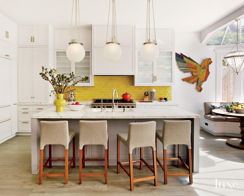 Eclectic White Kitchen with Subway Tile Backsplash