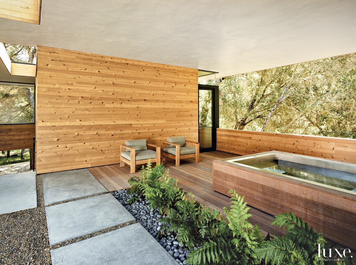 Modern Neutral Outdoor Room with Hot Tub