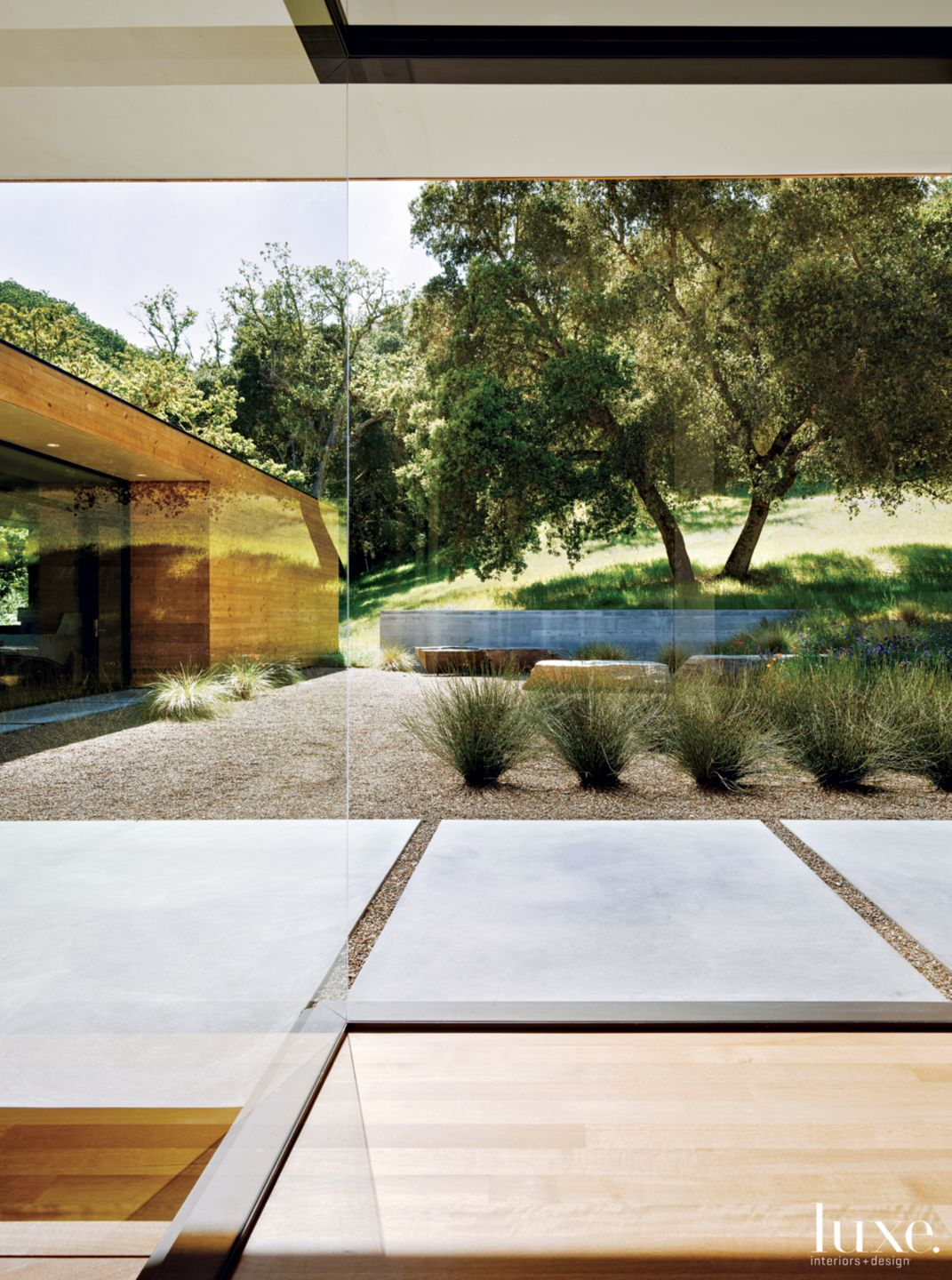 Modern Neutral Courtyard View with Concrete Pavers