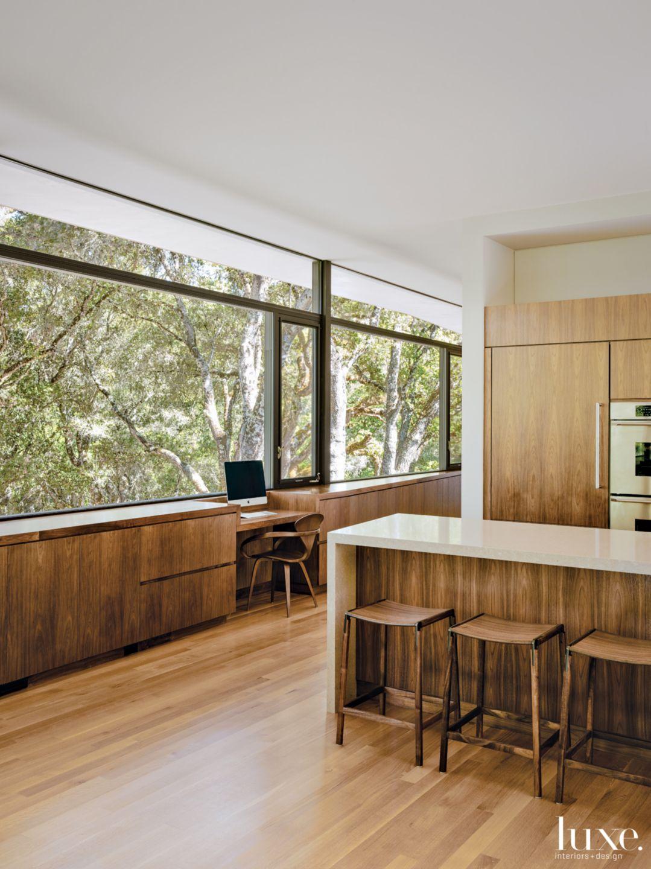 Modern Neutral Kitchen with Walnut Furniture