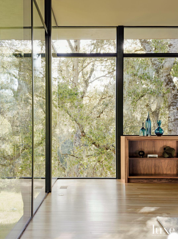 Modern Neutral Living Room Vignette with Glass Vases