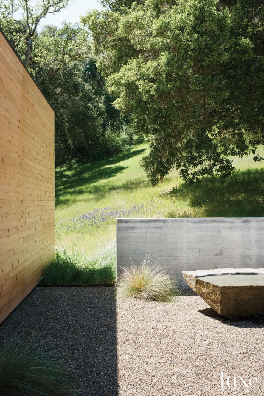 Modern Neutral Landscape Vignette with Cedar Wall