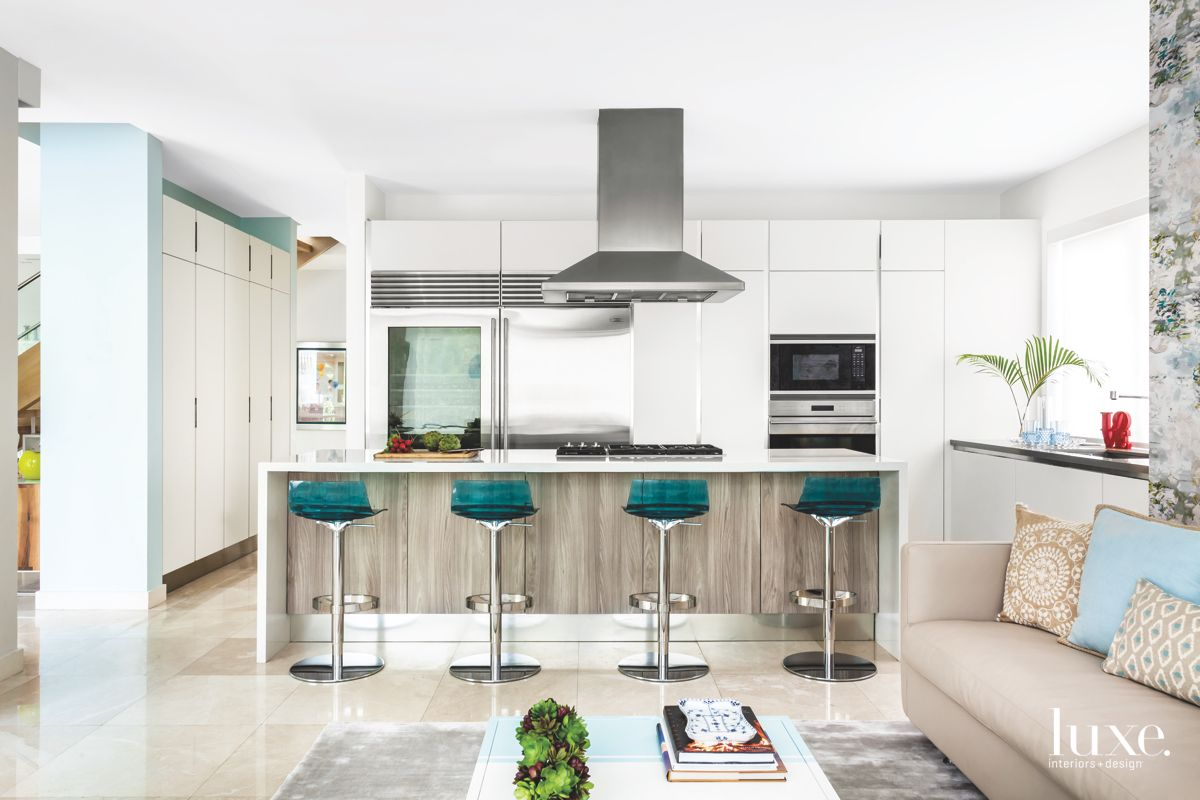 Existing All-White Kitchen with Blue Ocean-Nod Barstools