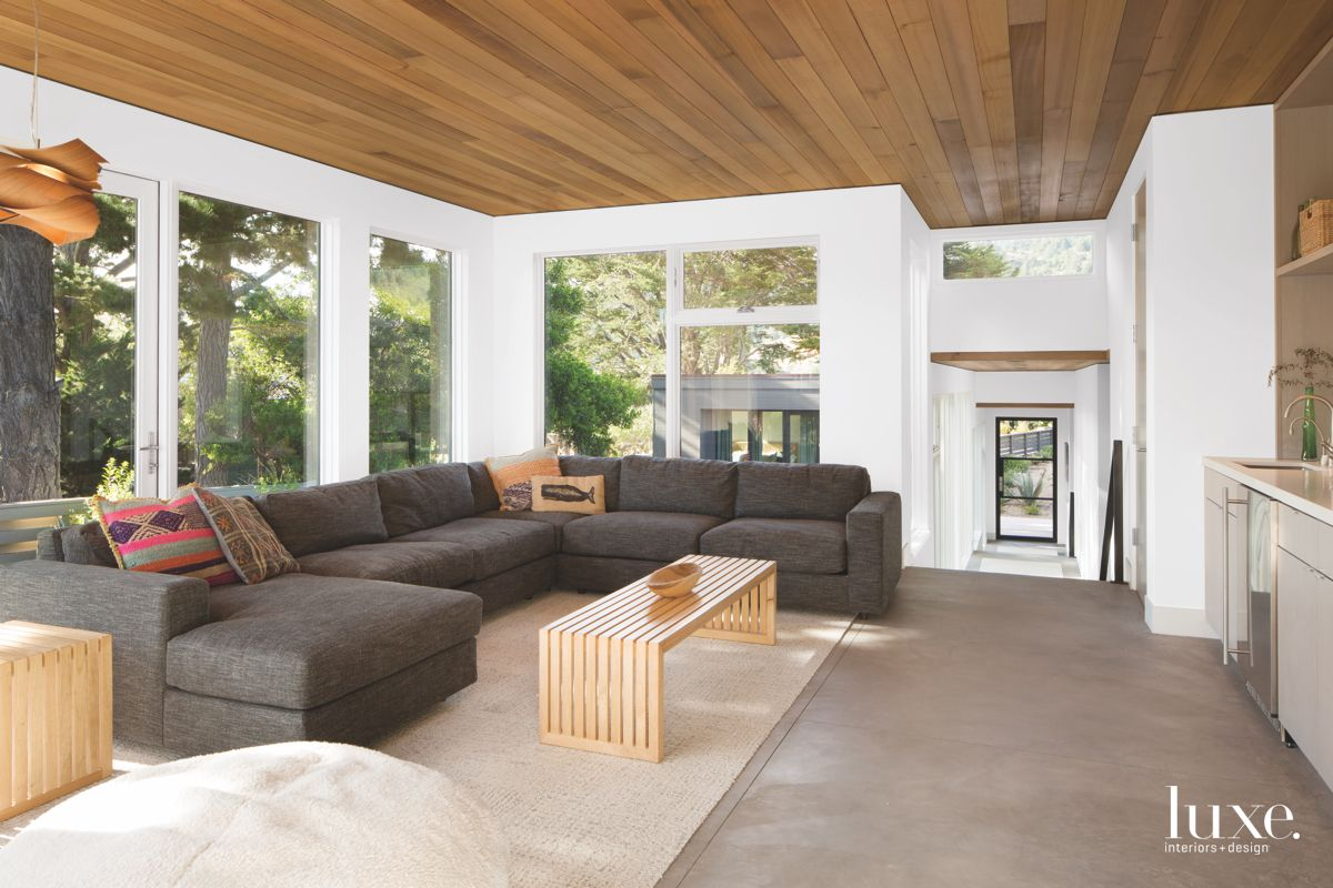 Light-Filled Family Room with Wooden Ceilings and Sofa