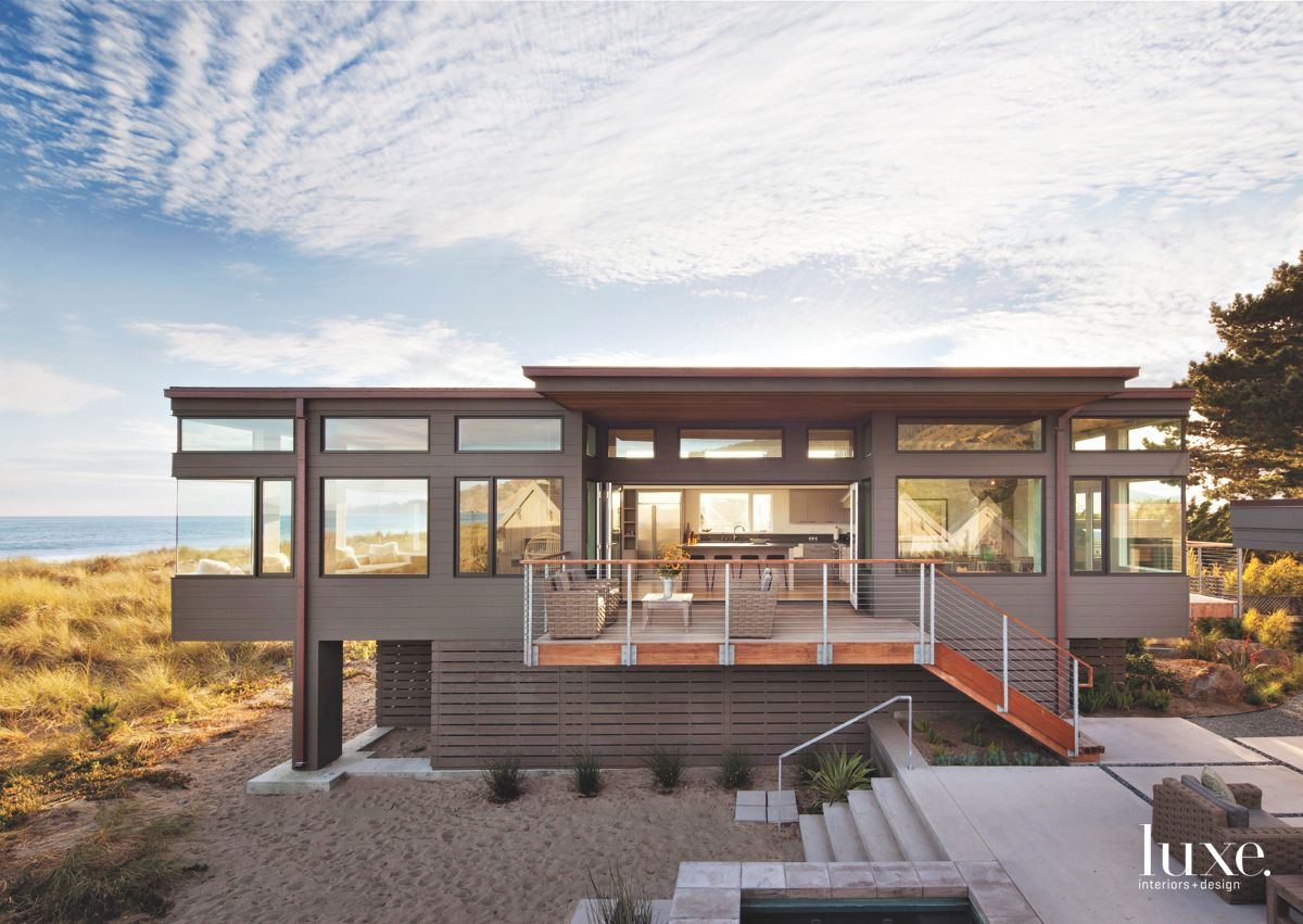 Native Plant-Surrounded Beach Home Exterior with Terrace