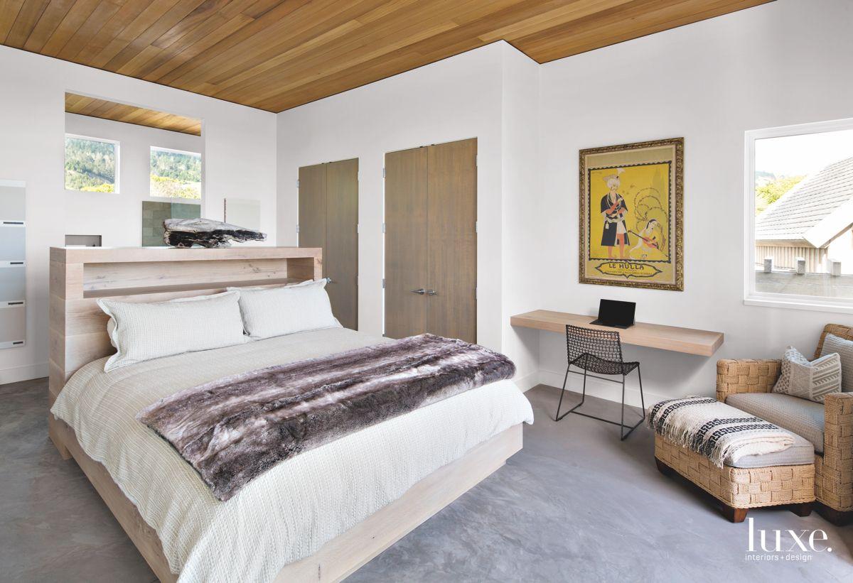 Floating Desk Master Bedroom with Plush Blanket