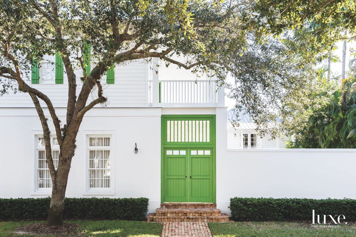 Green Barn Door Exterior with Green Shutters