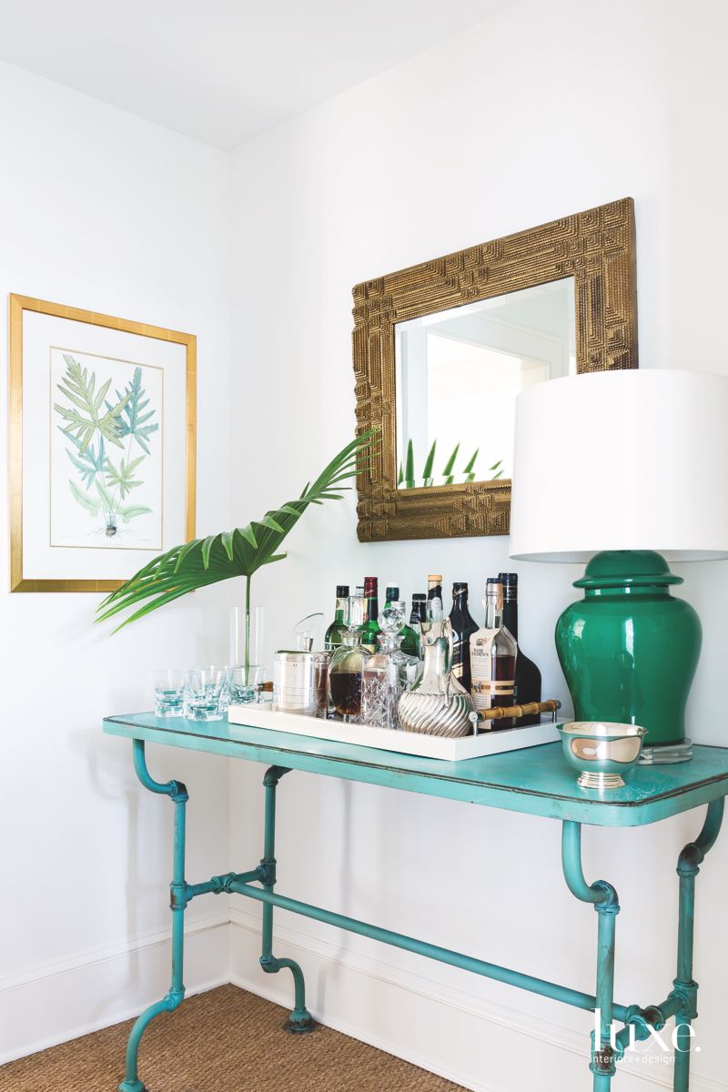 Tropical Bar Foyer with Palm Frond and Mirror