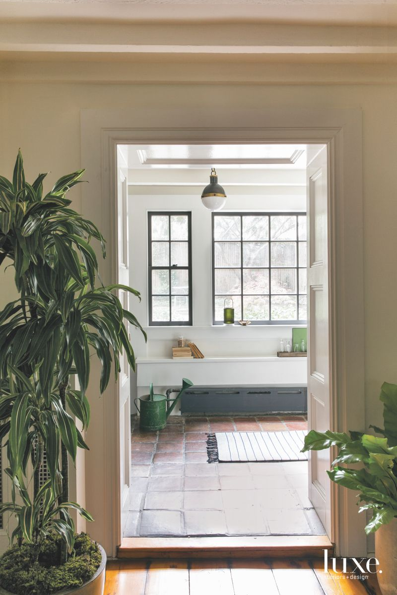 Traditional Open White Mudroom with Original Stone Floors
