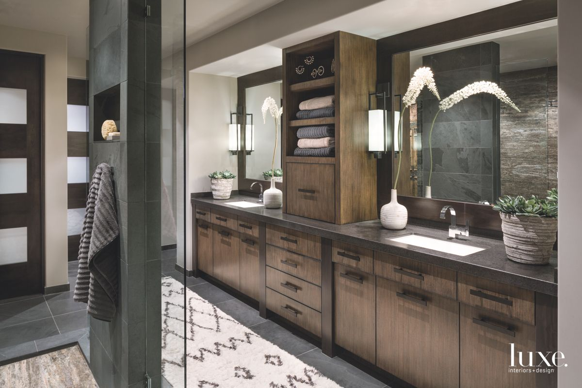 Rich Brown Palette in the Master Bathroom