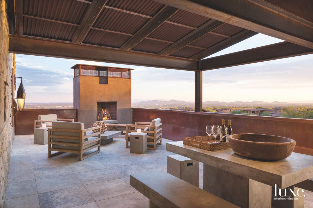 Arizona Outdoor Terrace with Fireplace and Seating Area