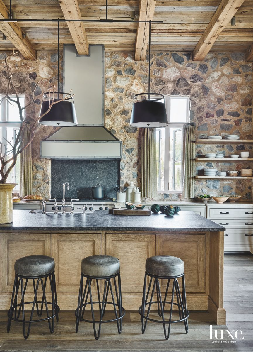 Stone Wall and Salvaged Wood Kitchen Design Scheme