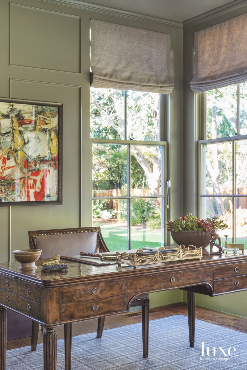 Green Study with Large Windows, Art, and a Desk