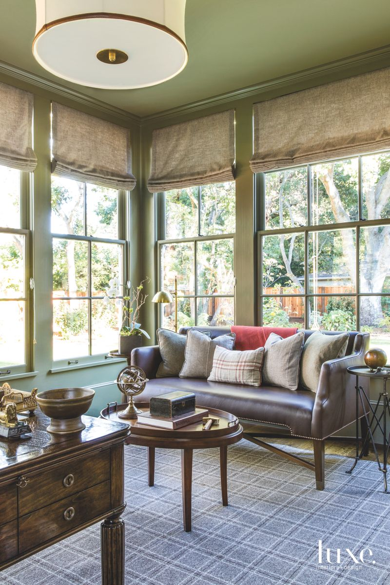 Study Painted Green with Custom Leather Sofa