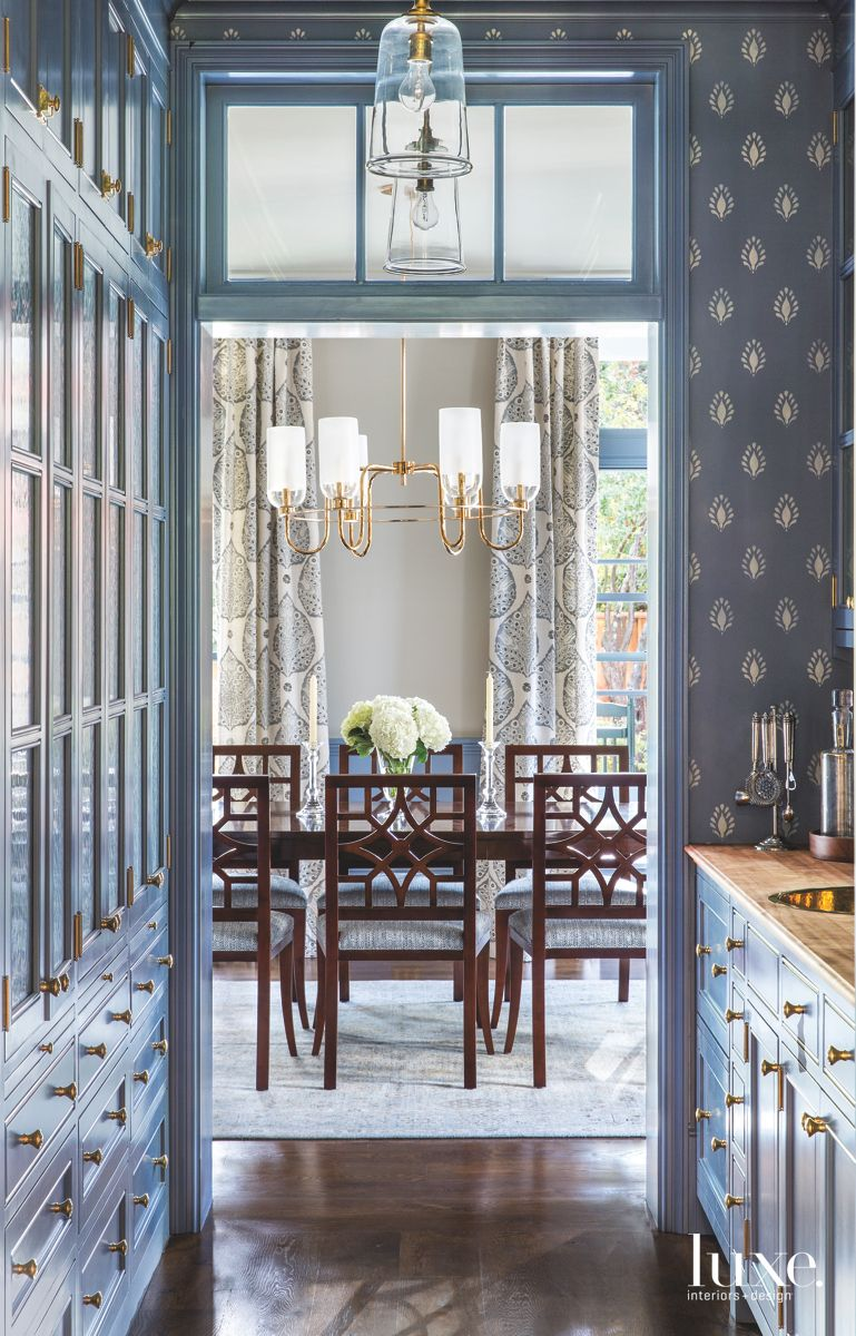 Traditional Blue Pantry with Patterned Wallpaper