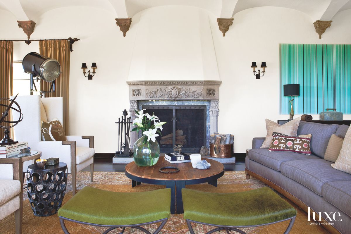 Vaulted Ceiling and Fireplace in the Living Room
