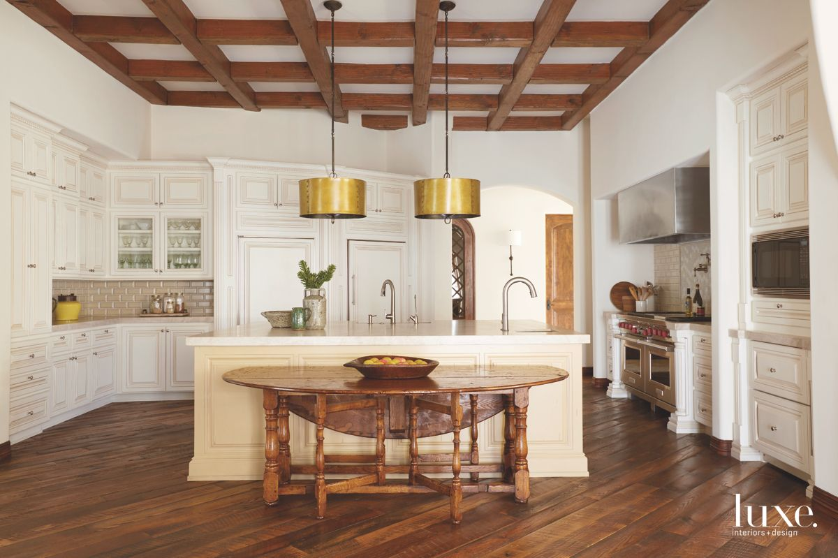 Coffered Wooden Ceiling Kitchen With Gold Lamp Shade Lighting with Cream Island
