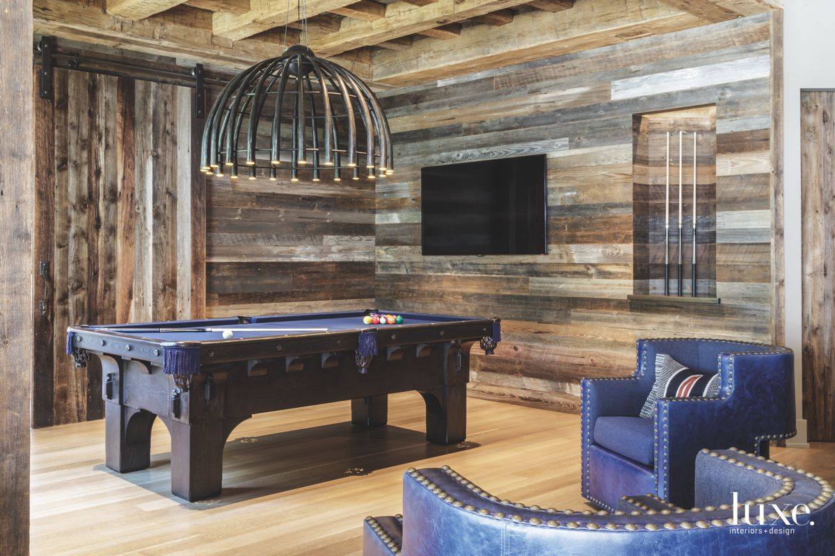 Man Cave Game Room with Wooden Surround and Pool Table
