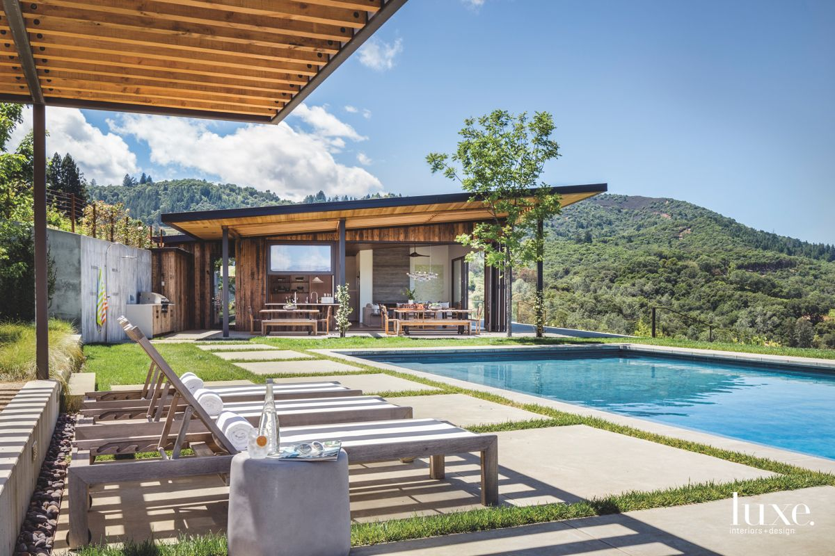 Contemporary Wooden Slotted Pergola with Pool