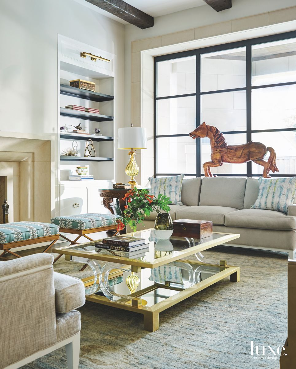 Carousel Horse Family Room with Gilded Table with Two Sofas