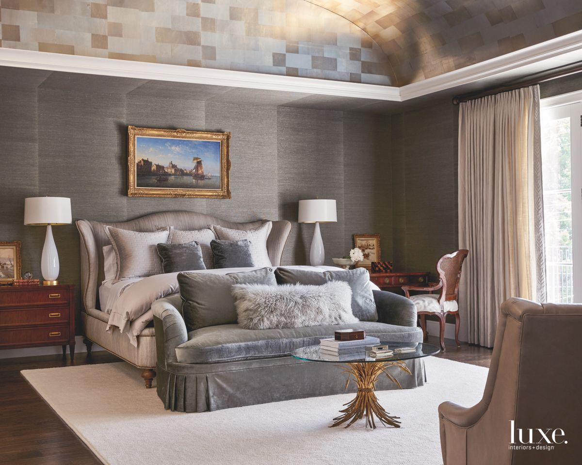 Gray Master Bedroom with Two Wallcoverings and Arched Ceiling and Art
