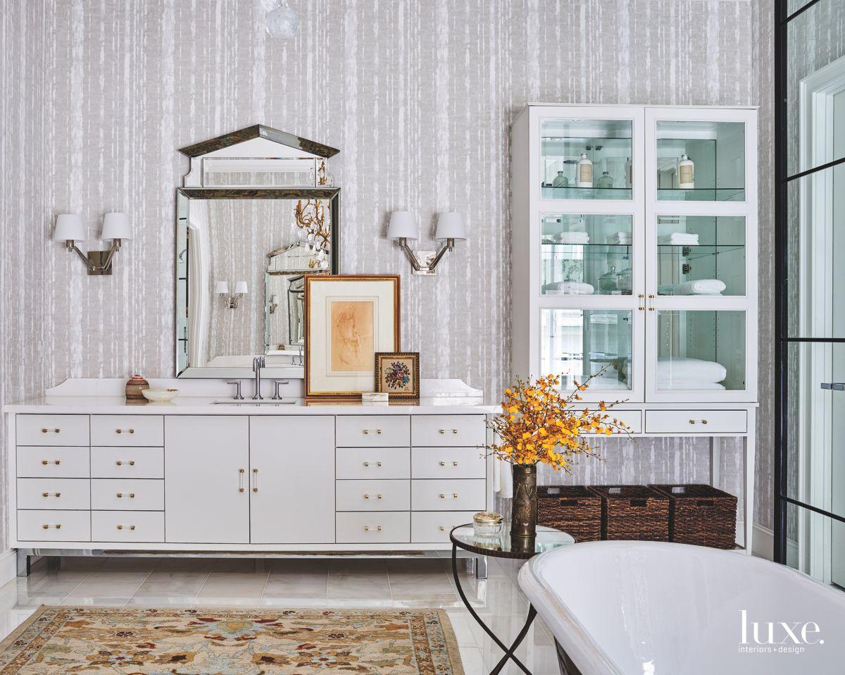 Light Gray Vanity Bathroom Mirror and Printed Wallcovering