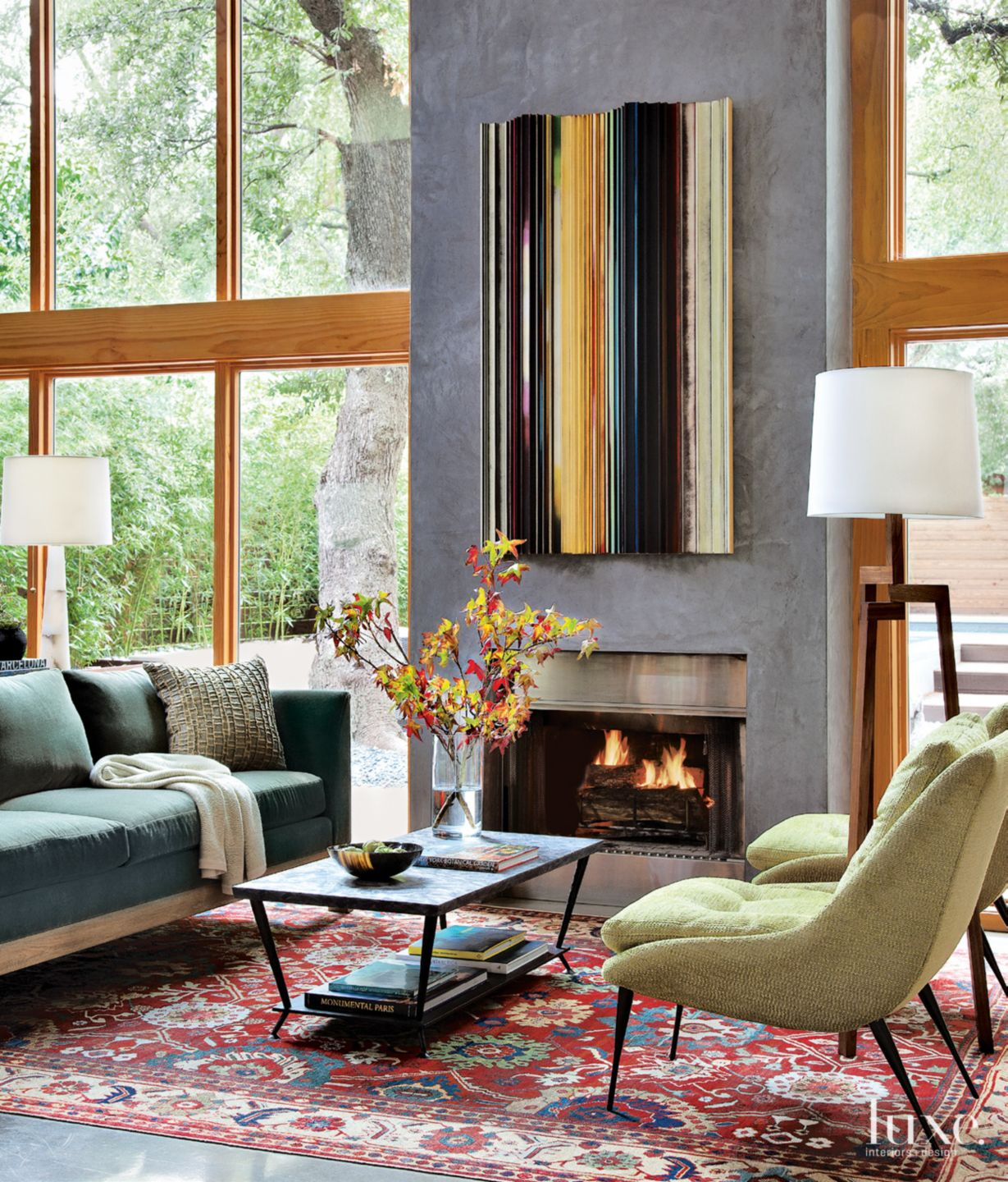 Modern Living Room With Concrete Mantel