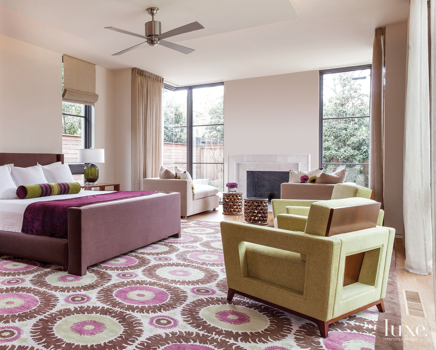 Master Bedroom with Colorful, Patterned Rug