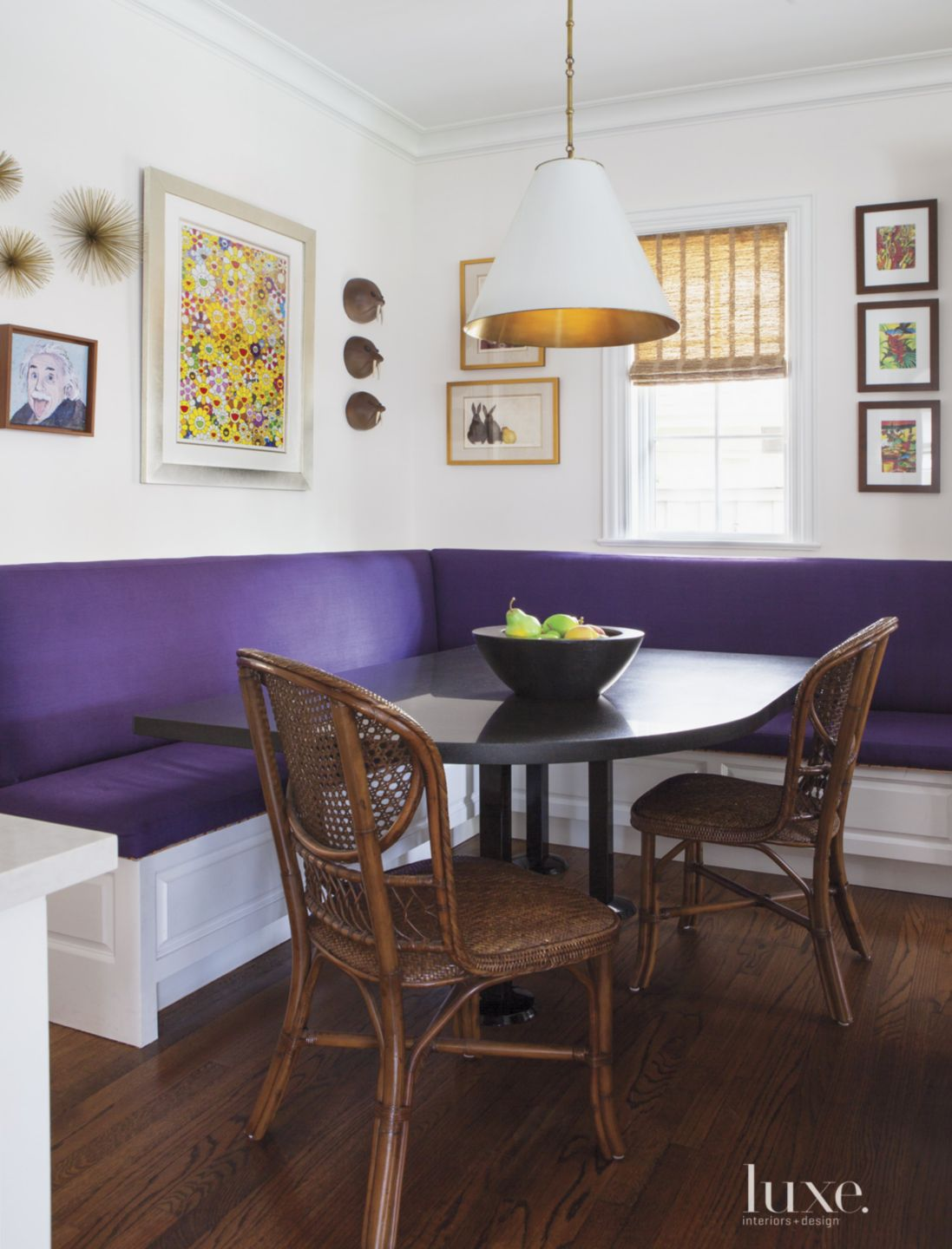 Transitional Breakfast Nook with Plum Banquette