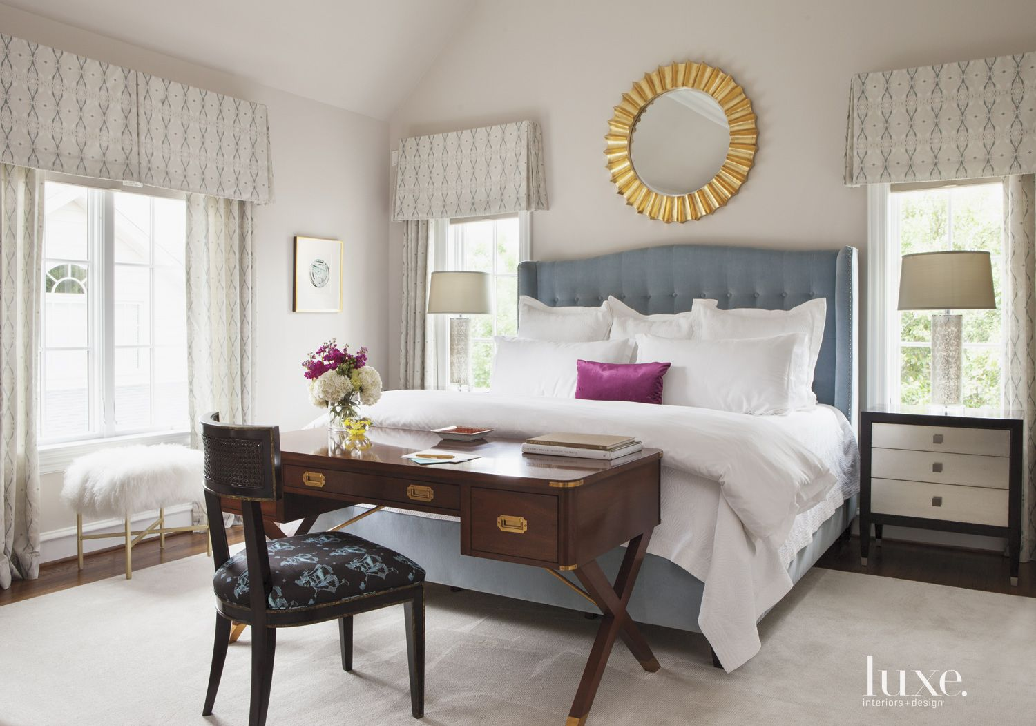 Off-White Master Bedroom with Fuchsia Throwpillow