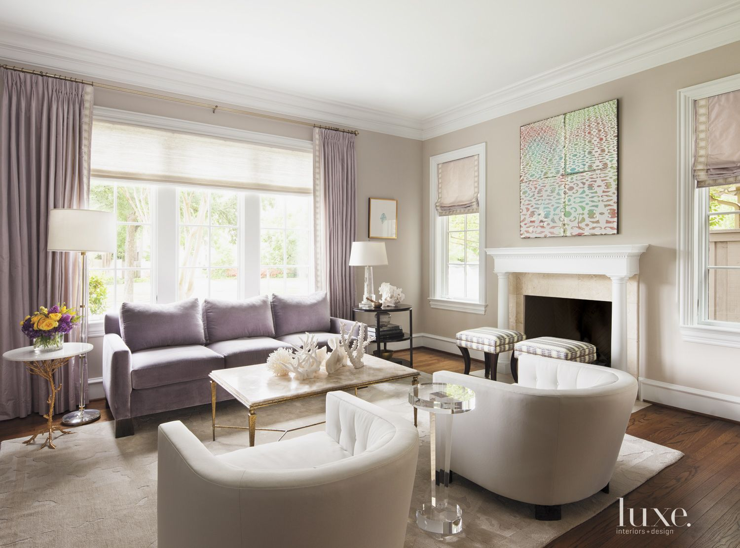 Transitional Lavender-Accented Living Room