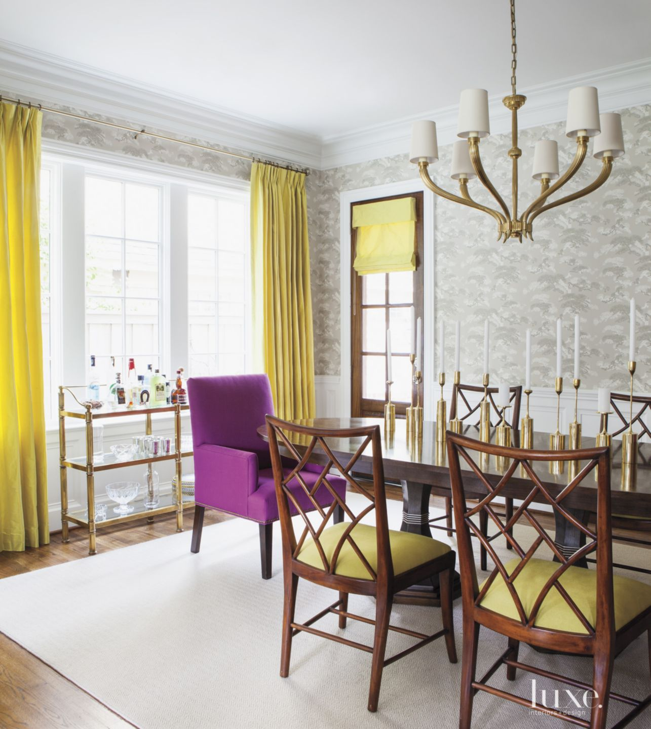 Transitional Gray Dining Room with Chartreuse Accents