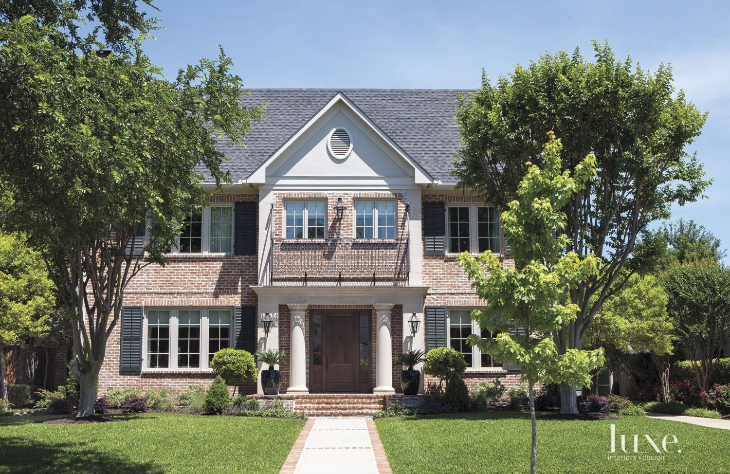 Traditional Brick and Wrought Iron Front Elevation
