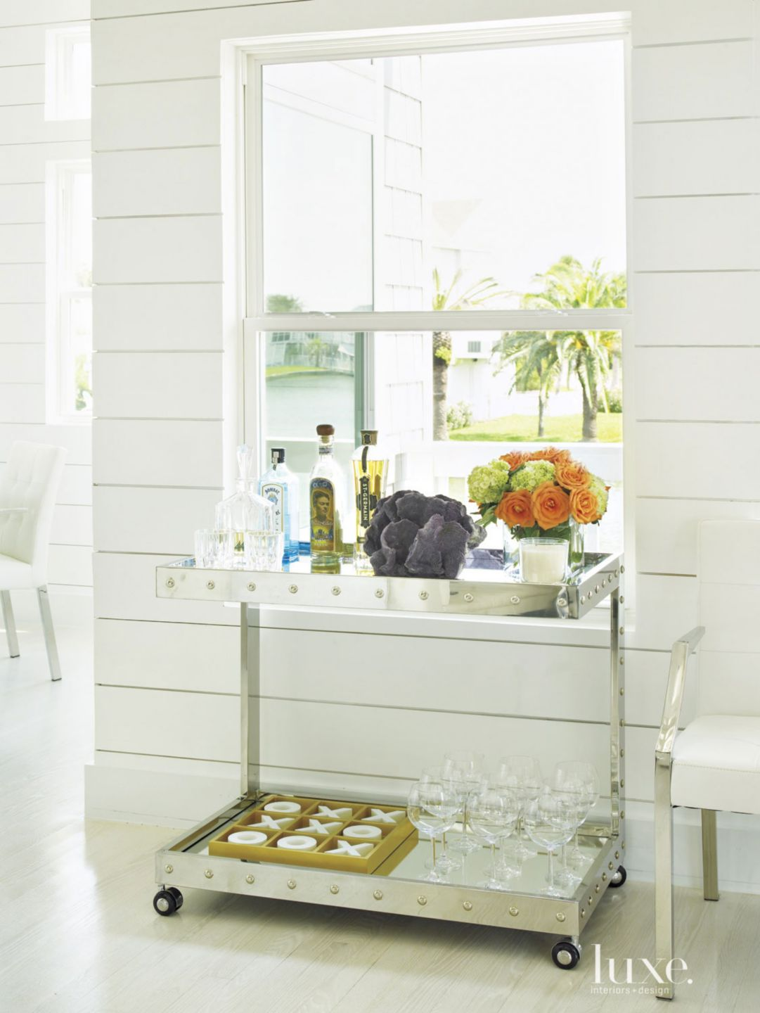 Contemporary White Living Room Bar Cart