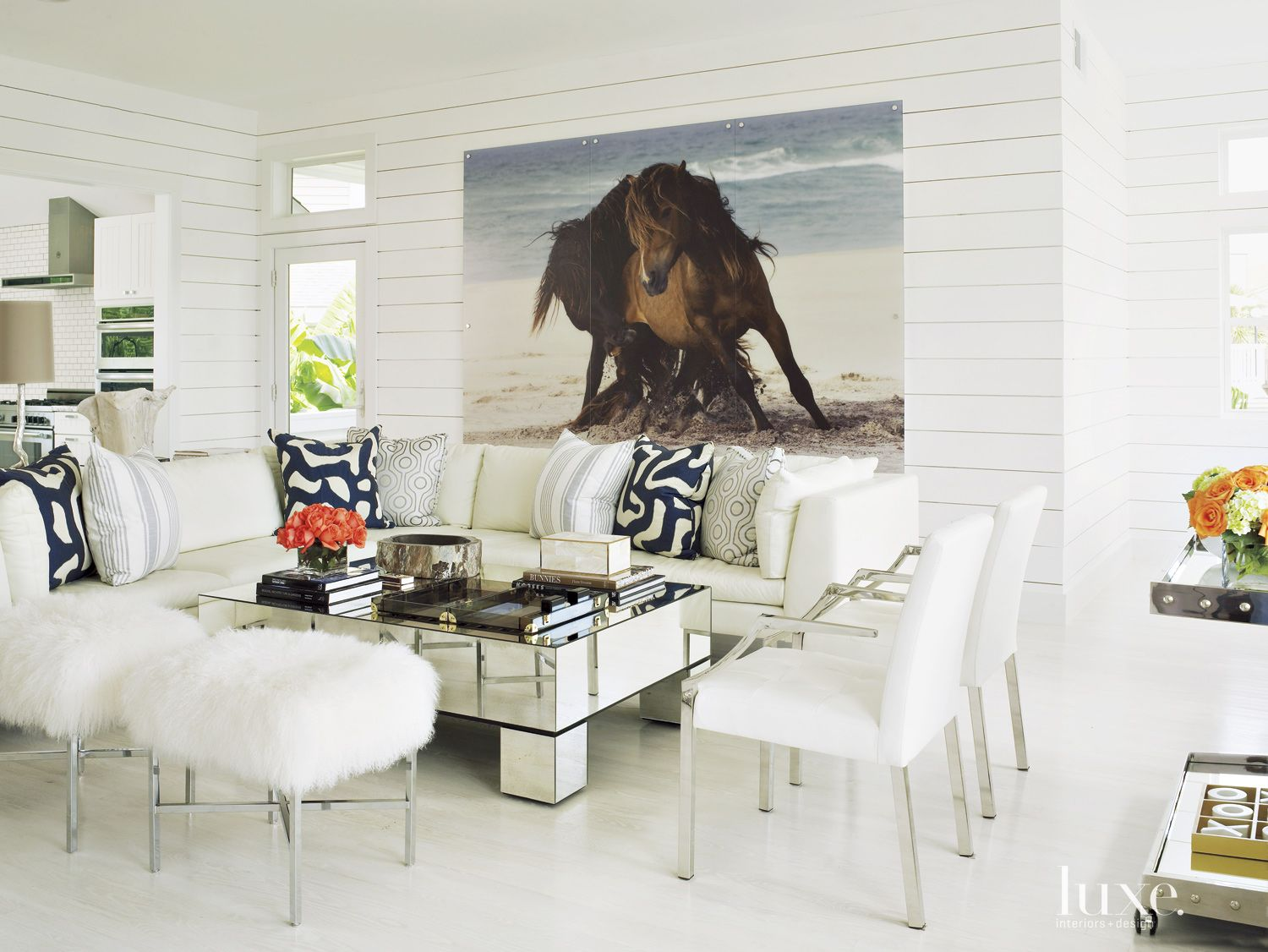 Contemporary White Living Room with Shiplap Paneling