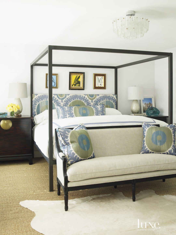 Contemporary White Master Bedroom with Custom Headboard