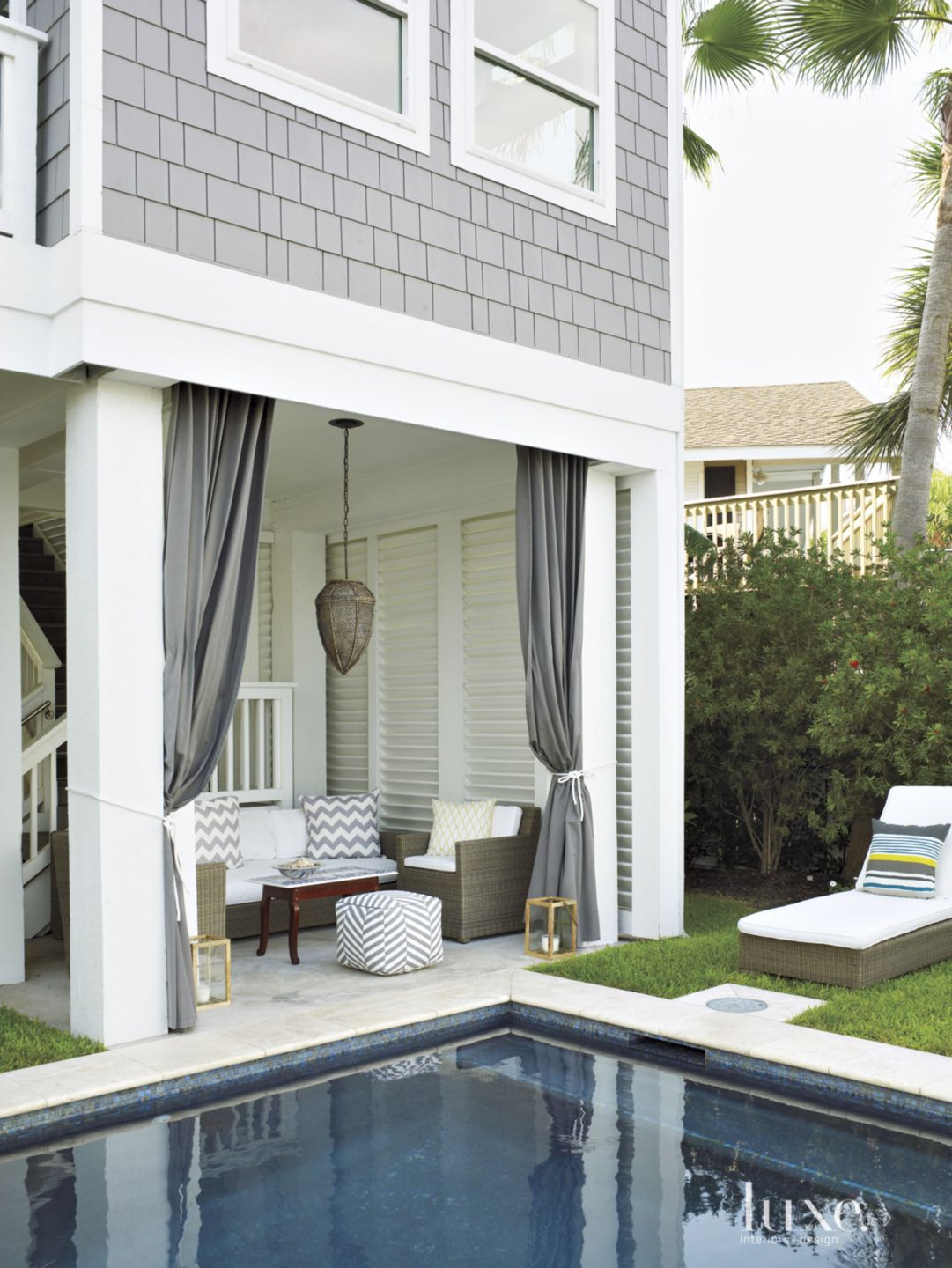 Contemporary Gray Cabana Seating Area