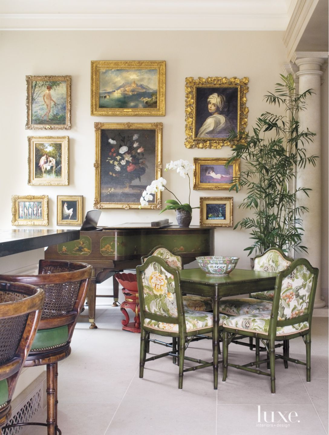 Traditional Cream Gallery Wall with Framed Paintings