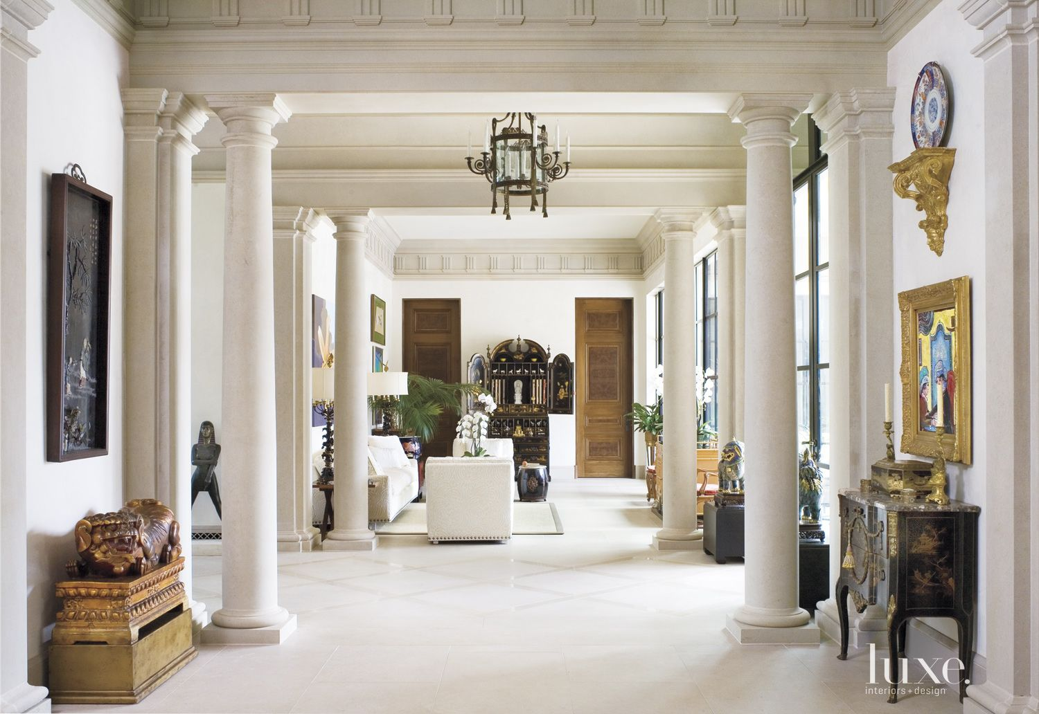 Traditional Cream Gallery Hall with Limestone Columns